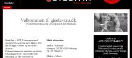 Denne hjemmeside har jeg opbygget for fysioterapeuten Gisela Rau, der har klinik i Odense og Aabenraa. Hjemmesiden kan besøges her.