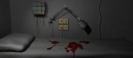 """En blodig hospitalsseng. Dette er en 3D model/scene, som jeg lavede i forbindelse med en lille fritids konkurrence på 3dmaxer.dk med emnet """"En dag på hospitalet""""."""