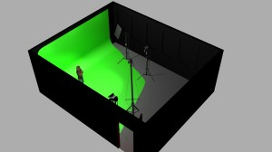 Greenscreen Cyclorama 3D rendering 02